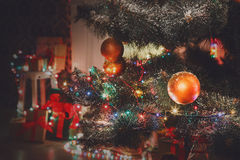 Beatiful christmas decorated tree in shining lights Royalty Free Stock Photography