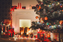 Beatiful christmas decorated tree in shining lights Royalty Free Stock Photo