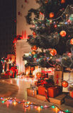 Beatiful christmas decorated tree in shining lights Royalty Free Stock Photos