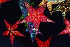 Beautiful colored and decorated luminous Christmas stars Stock Photo