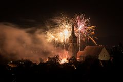 Beatiful colored Fireworks over Mindelheim stock image