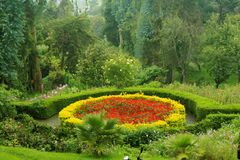 Beatiful designed park flower bed in the bryant park. Kodaikanal is a city near Palani in the hills of the Dindigul district in the state of Tamil Nadu, India royalty free stock image