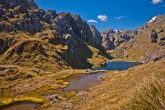 Beatiful famous Routeburn track in New Zealand. Beatiful Routeburn track in New Zealand, great walks, magical zealands destinations, Zealandian south island alps stock images