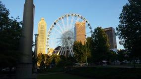 Beatiful ferris wheel and atlanta skyscrapers Stock Photo