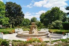 Beatiful fountain in garden in Museum . Villa Edward Herbst in Lodz, Poland. Beatiful fountain in garden in Museum - Villa Edward Herbst in Lodz in a beautiful stock photos
