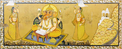 Beatiful fresco of god Ganesh in Jodhpur Stock Photos