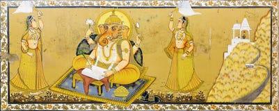 Beatiful fresco of god Ganesh in Jodhpur stock photos