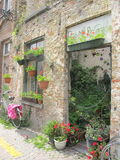 Beatiful garage witg flowers, Brugge. Belgium royalty free stock image