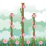 Beatiful garden with flowers scenery. Beatiful garden with flowers sunny day scenery vector illustration graphic design vector illustration
