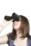 Beatiful girl with binoculars searching Stock Images