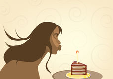 Beatiful  girl with birthday cake. Romantic woman blowing out the candle Royalty Free Stock Images