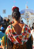Beatiful girl, Fair in Seville, Feast in Spain. Andalusian woman wearing flamenco dress during the Feria of Sevilla, Spain stock photography