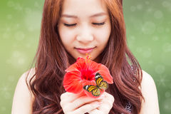 Beatiful Girl With Flower Royalty Free Stock Photo