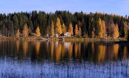 Beatiful landscape with a house on the lake Royalty Free Stock Image