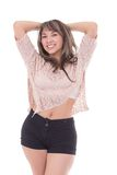 Beatiful latin girl posing isolated on white Royalty Free Stock Photography