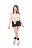 Beatiful latin girl posing isolated on white Stock Photos