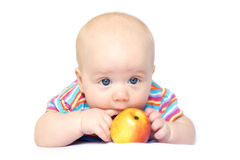 Beatiful little boy with apple Stock Photo