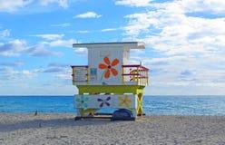 Beatiful miami beach. Life guard miami beach on the sand Royalty Free Stock Photo