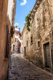 Beatiful narrow street in Mediterranean Europe, Croatia Stock Photo