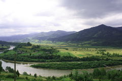 Beatiful nature. Summer mountains and river curves stock image