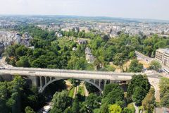 Beatiful panoramic view from the City Skyliner on Luxembourg. The City Skyliner is the highest and most sizzling mobile observation tower of the world stock photo