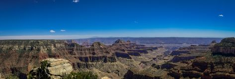 Beatiful panoramic view of cliffs above Bright Angel canyon, major tributary of the Grand Canyon, Arizona, view from the. North rim in USA stock photos