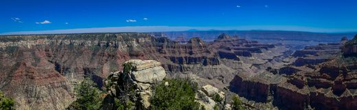 Beatiful panoramic view of cliffs above Bright Angel canyon, major tributary of the Grand Canyon, Arizona, view from the. North rim in USA royalty free stock photography