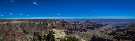 Beatiful panoramic view of cliffs above Bright Angel canyon, major tributary of the Grand Canyon, Arizona, view from the. North rim in USA royalty free stock photo