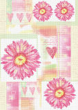 Beatiful postcard with gerbera flowers and hearts Royalty Free Stock Photo