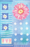 Beatiful postcard with gerbera flowers and hearts Stock Image