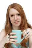 Beatiful Redhead with Coffee Mug (1) Stock Photo
