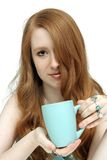 Beatiful Redhead with Coffee Mug (2) Stock Images