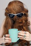 Beatiful Redhead with Coffee Mug (3) Stock Photography
