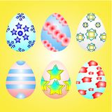 Beatiful Easter`s eggs on the yellow background. Beatiful six different Easter`s eggs on the light yellow background royalty free illustration