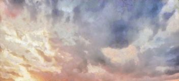 Beatiful Sky with Clouds Expressive Oil Painting