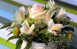 Beatiful summer boucket. Beautiful bouquet of summer flowers in a birch pot. Ideal birthday gift stock photos