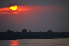 Beatiful Sun. Photo of a sunset above the river royalty free stock images