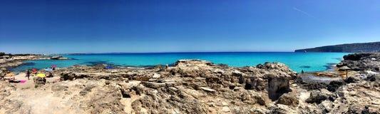Beatiful Sunny Beach day in Formentera Spain. Stock Photography