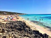 Beatiful Sunny Beach day in Formentera Spain. Stock Photo