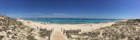 Beatiful Sunny Beach day in Formentera Spain. Stock Images