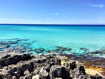 Beatiful Sunny Beach day in Formentera Spain. Stock Photos