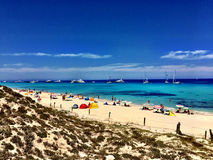 Beatiful Sunny Beach day in Formentera Spain. Royalty Free Stock Photography