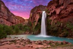 Beatiful sunrise in Havasu Falls, Havasupai, Arizona USA. Beautiful Havasu Falls near Supai Village. A desert oasis at sunrise in Havasupai, Arizona, USA royalty free stock image