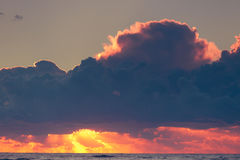 Beatiful sunset with clouds over the Baltic sea Royalty Free Stock Image
