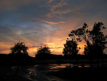 Beatiful sunset after rainy day. Beautiful amber sunset, trees shilouette stock photography