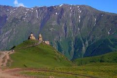 Beatiful valley in Georgia. Nature Georgia grass sky church royalty free stock photo
