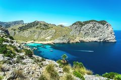 Beatiful view of Cala Figuera beach in Mallorca, Spain. Beatiful view of Cala Figuera beach with yachts in Mallorca, Spain Royalty Free Stock Photo