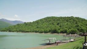 Beatiful view of Mountain lake resort and spa stock footage
