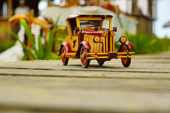 Beautiful vintage retro style wooden car model Stock Photography