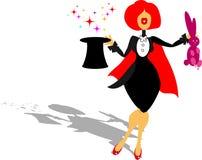 Beatiful woma fakir in tuxedo. Beatiful woman - fakir in tuxedo make circus magic with rabbit in cartoon style illustrations vector illustration